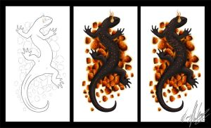 Fire Salamander :commission: by Dusky-Dawn