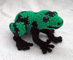 Amigurumi Green and Black Poison Dart Frog by Dragonrose36