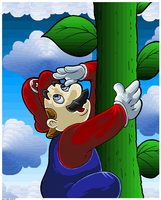 Mario Holding On A Vine. by Virus-20