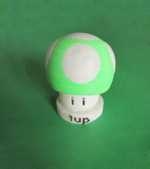 1up 3d printed glow in the dark by AlfonMC