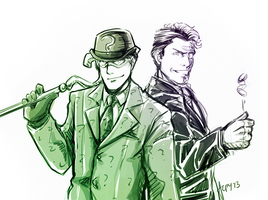 Riddler and Two-Face by Meinarch