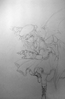 Remilia Scarlet inking sketch by freezeex