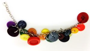 Kawaii Rainbow Vintage buttons bracelet by Lovelyruthie