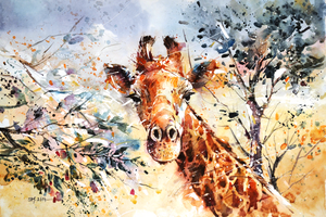 Wildlife Watercolor - Giraffe by Abstractmusiq