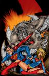 Doomsday 52 fights Superman and Supergirl by Maus by billmausart