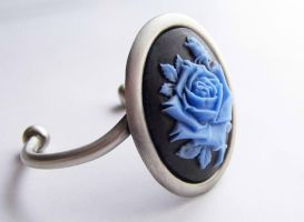 Blue Rose Cameo Cuff by ms-pen
