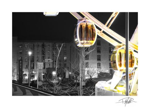 Liverpool Big Wheel and Albert Dock - B+W - Colour by Paul-Madden