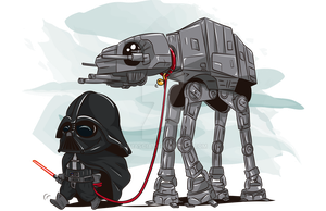 Darth Vader and AT-AT by jmascia