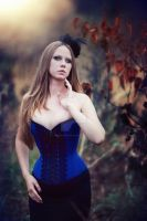 Blue overbust with black lace by MorielCorsetry