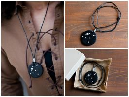 Aquila constellation pendant - real ebony and moth by Belisamacrafts