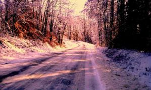 snowy road by witchwomanleah
