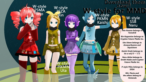 W-style MMD Newcommers - Teto, Rin, Uta and Kaishi by Orahi-shiro