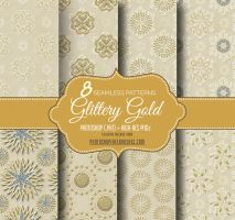 8 Gold Seamless Patterns on Brown Paper Background by fiftyfivepixels