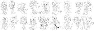 All my sonic designs actual (just lines for now) by YvoLara