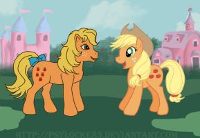 Applejack 1984 + 2010 by Psylocke83