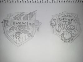 HP House Crests: Ravenclaw and Slytherin by benshark92