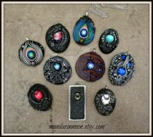 Pendants July 2016 Polymer Clay and Vintage Gems by MandarinMoon