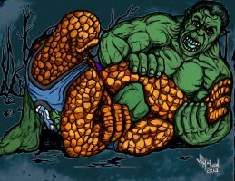 The Hulk and The Thing Wrestling: Color by jdmacleod