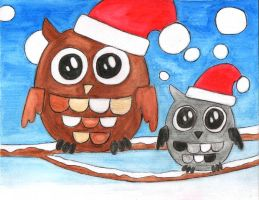 Christmas Owls by misshoneywoo