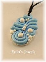 Big white and blue sea foam pendant by Shatiel85