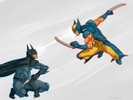 Wolverine vs Batman by TentacleMonsterChu