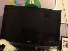 Just my desk and luigi tv by Drawinglover2002