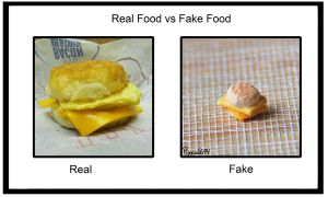 Real vs. Fake - Egg n' cheese.... by PoppyCorn99