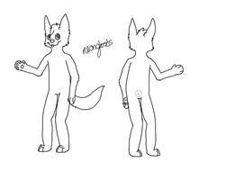 Anthro Wolf Lineart by Ghost-adopt
