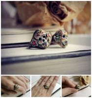 Candy Skull Rings by JuleeMClark
