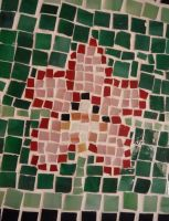 Orchid glass tile mosaic on a cement paver 3 by Amazinadrielle