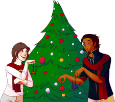 [Commission] - Putting up the Christmas tree by Riboo