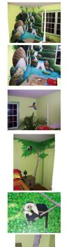 tropical room murals by comic-burn