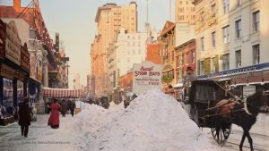 Piles of snow on Broadway, NYC, ca 1905. Colorized by Mygrapefruit