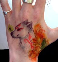 Okami on a Hand 8D by kalicothekat