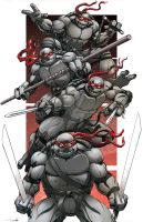 Tmnt black and white by Dan-the-artguy