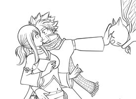 NaLu... and Happy :D Lineart by Lyne-Chan