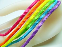 Neon Rainbow Kumihimo Bracelets by QuietMischief