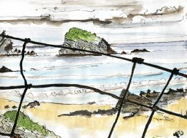 Rocks In Sea Behind Wire Fence by merearthling