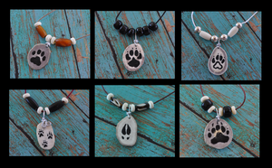 Hand Inked Deer Antler Paw Print Necklaces by MorRokko