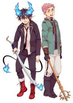 commission blue exorcist by Flarefyre