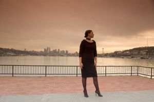 Woman and Seattle Skyline by happeningstock