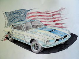 1967 mustang shelby drawing by prestonthecarartist