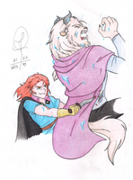 Han vs. Elsa (Gaston vs. Beast) - Colored by Jujubesca