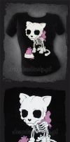 Bone Kitty T-shirt by aleksandracupcake