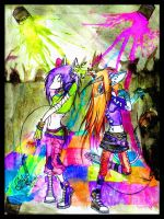 Lithium and Choker in a rave by Cosmiksquirel