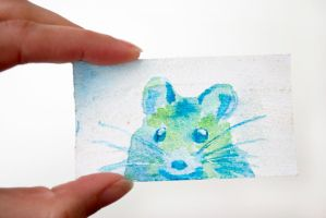 Tiny Watercolor Mouse Painting by brandimillerart