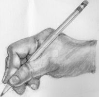 Hand with pencil by Purplepies