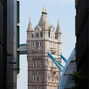 Tower Bridge Framed by Buildings by shhhhh-art