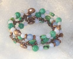 Blue Green Copper Coil Bracelet Closeup 3 by Windthin