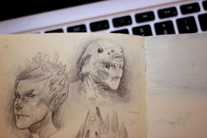 Creature head sketch by Monkey-Brush